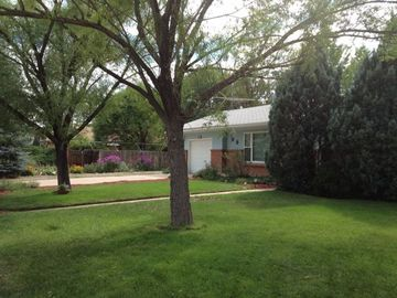 Nice yard with mature trees and flowers create a relaxing place to enjoy.