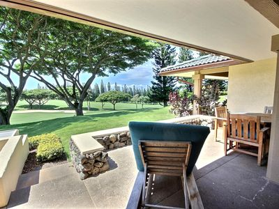 Very private Kapalua Golf Villa with sweeping Kapalua Bay Golf course and Pacific Ocean views in the distance.