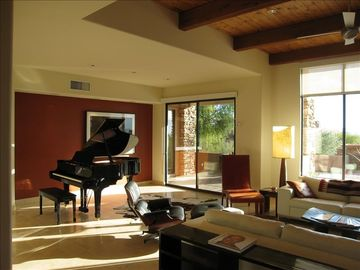 Living area has high ceilings and great acoustics