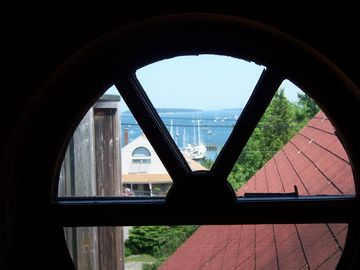 Sneak-Peak View of Harbor, Islands and Ocean from Master Bedroom