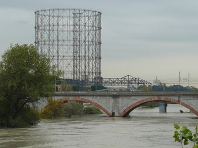 Steel bridge and Gazometer with roof of St.Paul cathedral