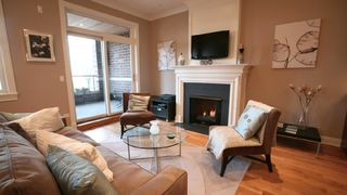 Plasma TV above fireplace - Chicago condo vacation rental photo
