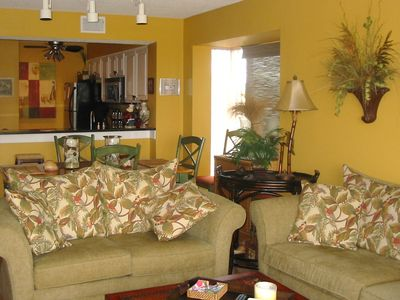 Sofa and loveseat provide comfortable seating options.
