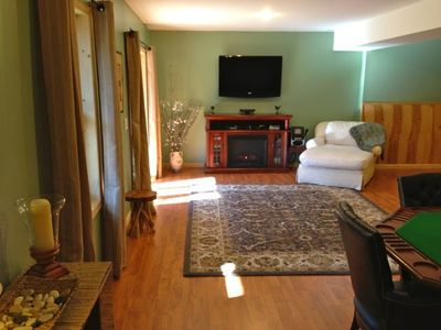 Massanutten house rental - A huge electric fireplace, HDTV, karaoke machine & Xbox kinect with room to play