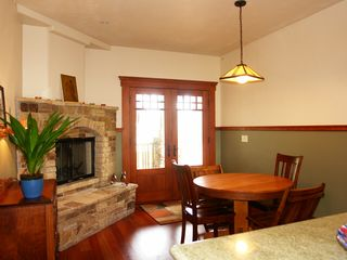 Pacific Grove house photo - Breakfast nook with another Carmel Stone fireplace.