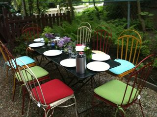 Bar Harbor house photo - Enjoy a dinner al fresco in the garden, where there is also a deck and grill
