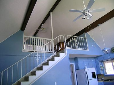 Beaver Lake cottage rental - Stairs to Loft Bedroom