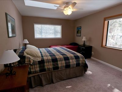 Christmas Valley house rental - Bedroom with queen bed and single bed.