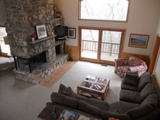 Jacksonport house photo - Great Room with huge field stone fireplace