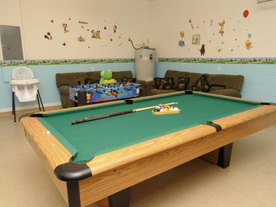 Gameroom with Full Size Pool Table and a Foosball.