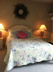 Edelweiss Haus condo photo - This is the second bedroom. Queen bed, sliding door to porch with mountain view
