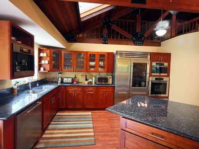 The large and fully equipped kitchen complete with everything you need.
