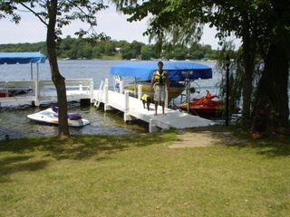 East Troy house rental - Main pier view from front of house( west view swim area, great sunsets!)