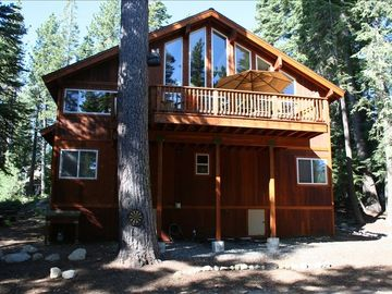 Chambers Landing cabin rental - REAR VIEW of cabin with 2nd story deck and bedroom level below.