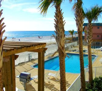 View From Your Balcony...A Spectacular Beach Front View of the Pool & Ocean!