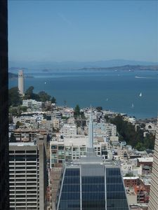 View from Master Bedroom of Coit Tower and Bay