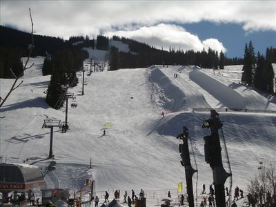 Picture of the half pipe located at the base of Main Vein in the CENTER VILLAGE