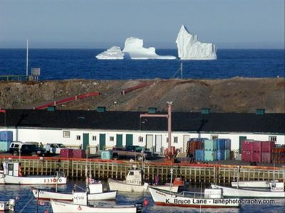 Icebergs and Fishing Wharf in Ochre Pit Cove