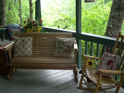 Warm weather on the rocking chair porch. Relax in the seclusion.