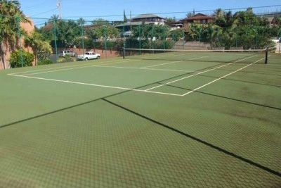 The resort's private tennis court