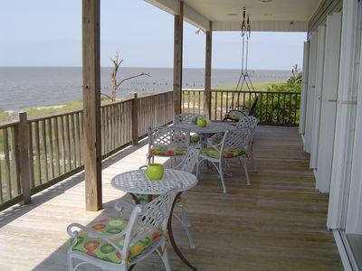 Veranda overlooking pool and Gulf of Mexico