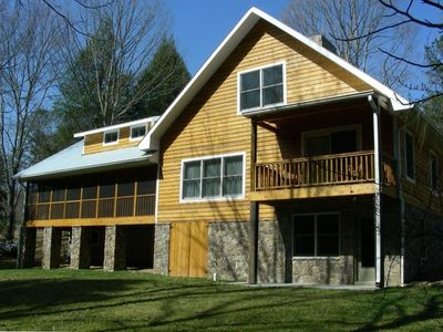 Screened porch and private covered master balcony - Lookout Mtn Cabin Rental