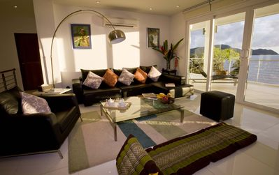 Cape Panwa villa rental - Villa C5's living space and a panoramic seaview