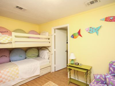 Bunk room with 1 set of bunkbeds and twin trundle; flatscreen TV/DVD.