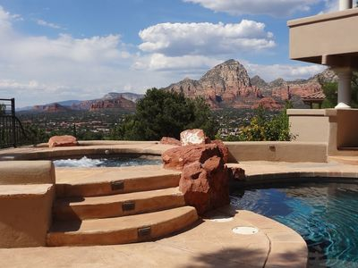 Sedona house rental - 10 person jetted spa with privacy and views
