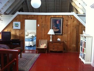 Woods Hole house photo - Upstairs den with view into second floor bedroom with twin beds.