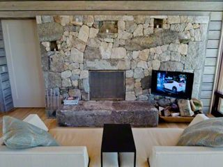 Chilmark house photo - Lounge Area Has Custom Stonewall With Fireplace & Media Center