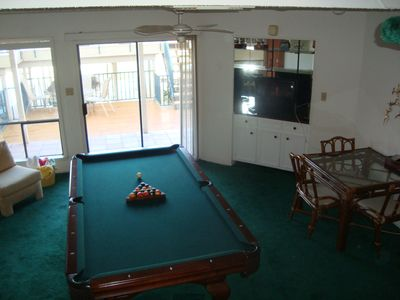 Lower level game room with queen size futon and full bath