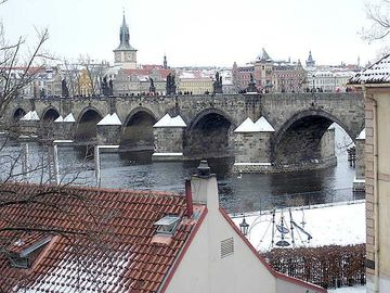 View of Charles Bridge in the snow