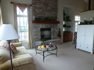 Living Room with Propane Fireplace, blue ray and Flat Screen TV,