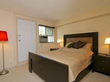 Master bedroom with separate entrance/exit to outside.
