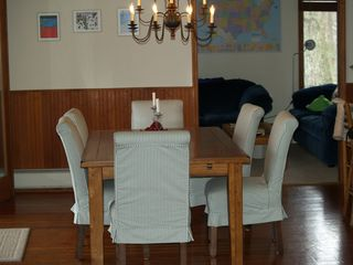 Lake Bomoseen house photo - Dining area. Table expands to hold 10-12