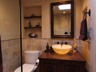 Santa Fe house photo - Newly renovated guest bathroom with onyx sink and walk-in shower.