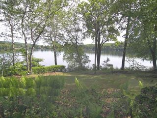 Lakeville cottage photo - View from front porch across Lake Wononscopomuc
