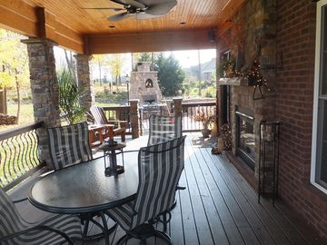 Louisville house rental - Porch over looking Patio...off Hearth Room. Fireplace on porch