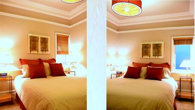 Bedroom - Original Artwork, Quality Linens, Hand Crafted Lamp Shades.