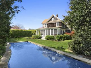 Bridgehampton house photo - Back garden with heated gunite lap-pool close to screened porch