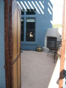 Entry to the Tubac town home - a lovely private patio with a gas fireplace