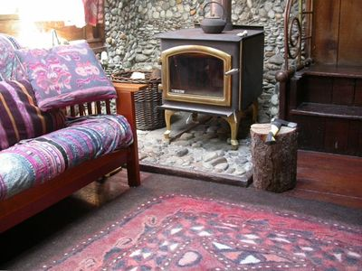 Coziest room downstairs with radiant rug