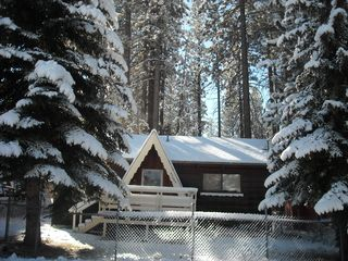 Big Bear Lake cabin photo - Our WINTER look. Perfect cabin for Boarders/Skier's - approx. 100yds to shuttle