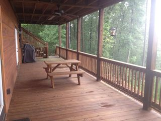 Ellijay cabin photo - Lower Level with Gas BBQ and Picnic Table.