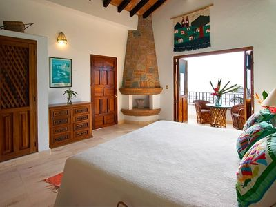 Puerto Vallarta villa rental - Green Bedroom with king bed, 2 balconies, bath with hot tub & bidet + A/C