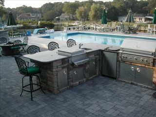 Hampton Bays house photo - outdoor kitchen/ cooler/ refrigerator/grill sink