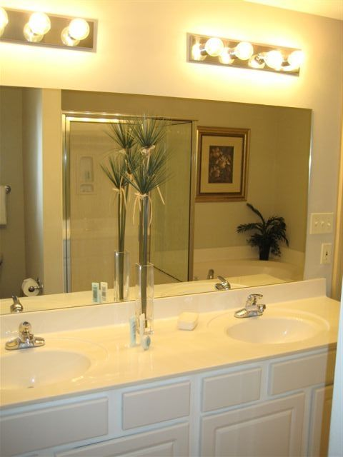 Dual vanity sinks with plenty of counter space!