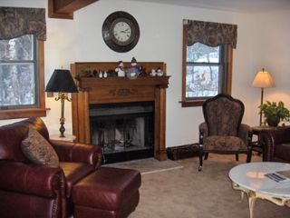 West Dover house photo - Living Room with Wood-burning Fireplace