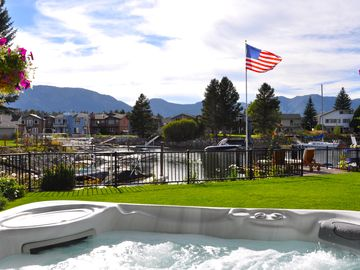 Tahoe Keys house rental - 8-person massaging-jets hot tub with view of the western sky, mountains & water